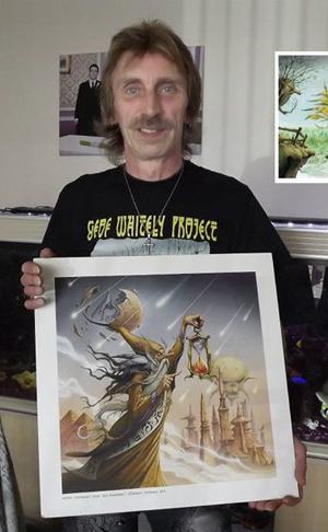 Geof Whitely with the artwork for one of his many previous albums.